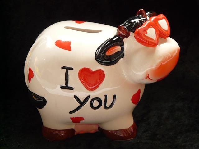 """Sparschwein mit dem Namen """"I love You"""""""